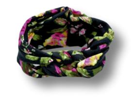 Haarband gevlochten zwart met bloemen
