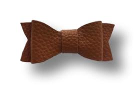 Leder-loook haarstrik cognac | 6 cm