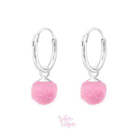 Zilveren kinderoorbellen creolen met pompom roze