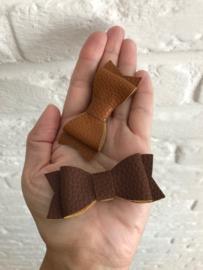 Leder-loook haarstrik felroze | 6 cm