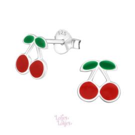 Zilveren kinderoorbellen kersen rood
