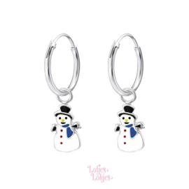Zilveren kinderoorbellen creolen met sneeuwpop