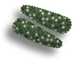 Haarspeldjes groen met witte bloemetjes