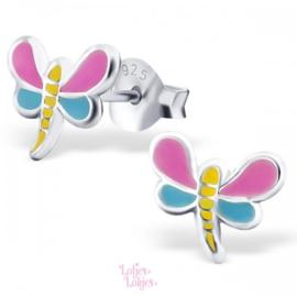 Zilveren kinderoorbellen libelle