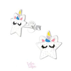 Zilveren kinderoorbellen ster eenhoorn