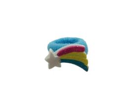 Badstof haarelastiekje blauw met regenboog