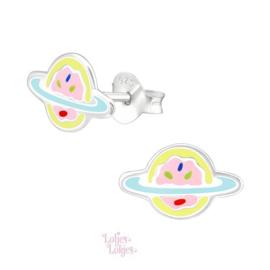 Zilveren kinderoorbellen planeet