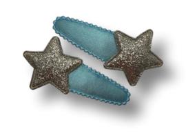 Haarspeldjes lichtblauw met ster zilver