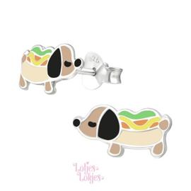 Zilveren kinderoorbellen hotdog