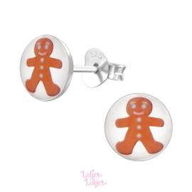 Zilveren kinderoorbellen gingerbread man (rond)