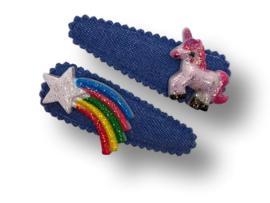 Haarspeldjes denim blauw met regenboog en eenhoorn