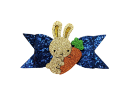 Glitter haarstrik donkerblauw XL met konijn glitter | 10 cm