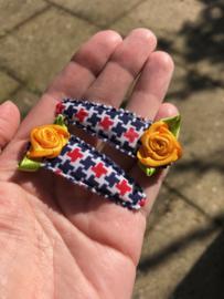 Haarspeldjes rood-wit-blauw met oranje roosje | Koningsdag