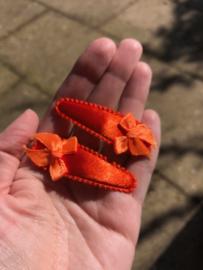 Haarspeldjes oranje met strikje | Koningsdag