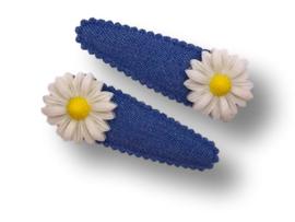Haarspeldjes denim blauw met madelief