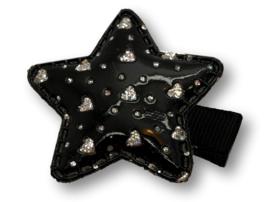Haarlokspeldje ster zwart met hartjes zilver