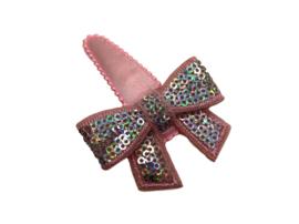 Haarspeldje lichtroze met glitterstrik roze/zilver