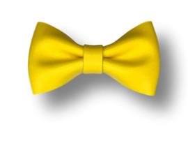Leder-loook haarstrik geel | 6,5 cm