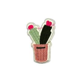 Strijkapplicatie cactus in pot | 4 x 7 cm