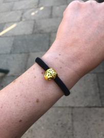 Armbandje met panter zwart (elastisch)