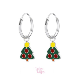 Zilveren kinderoorbellen creolen met kerstboom