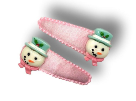 Haarspeldjes lichtroze met sneeuwpop
