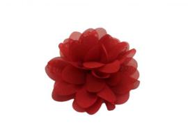 Haarbloem chiffon rood