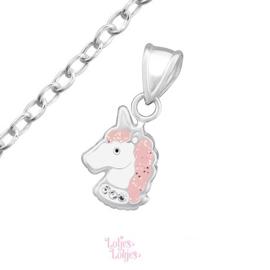 Zilveren kinderketting eenhoorn pastel roze