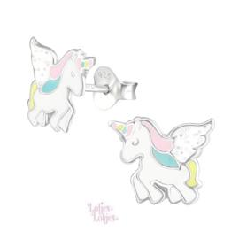 Zilveren kinderoorbellen eenhoorn met vleugels pastel