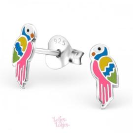 Zilveren kinderoorbellen papegaai