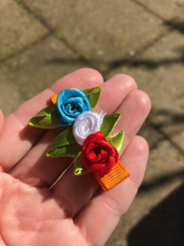 Haarlokspeldje oranje met roosjes | Koningsdag
