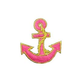 Strijkapplicatie anker roze | 4,5 x 5 cm