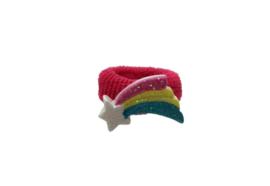 Badstof haarelastiekje felroze met regenboog