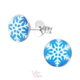 Zilveren kinderoorbellen sneeuwvlok (rond)