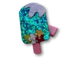 Haarlokspeldje lichtroze met ijsje glitter