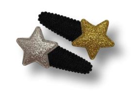 Haarspeldjes zwart denim met ster goud en zilver