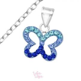 Zilveren kinderketting vlinder blauw | kristal
