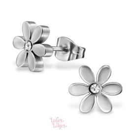 Kinderoorbellen chirurgisch staal bloemetje | zilver