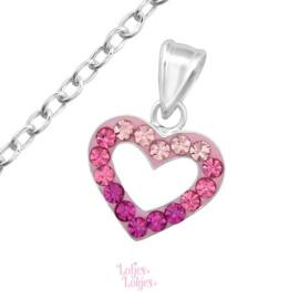 Zilveren kinderketting hartje roze | kristal