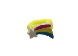 Badstof haarelastiekje geel met regenboog