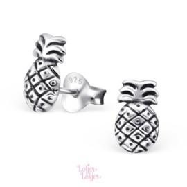 Zilveren kinderoorbellen ananas | zilver