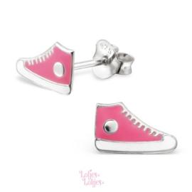 Zilveren kinderoorbellen gymp roze