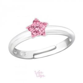 Zilveren kinderring sterretje roze | kristal