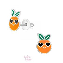 Zilveren kinderoorbellen mandarijn cool