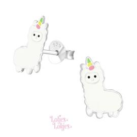 Zilveren kinderoorbellen alpaca
