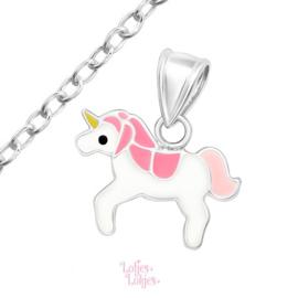 Zilveren kinderketting eenhoorn roze-wit