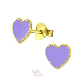 Zilveren kinderoorbellen hartje paars | gold plated