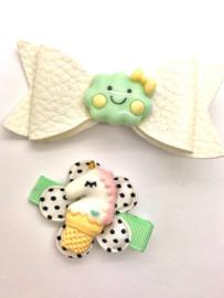 Voordeel-pakket wolkje mint (haarstrik + haarlokspeldje)