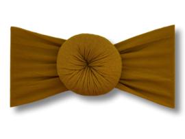 Baby haarband turban mosterdgeel