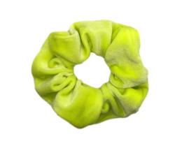 Scrunchie velvet neon geel